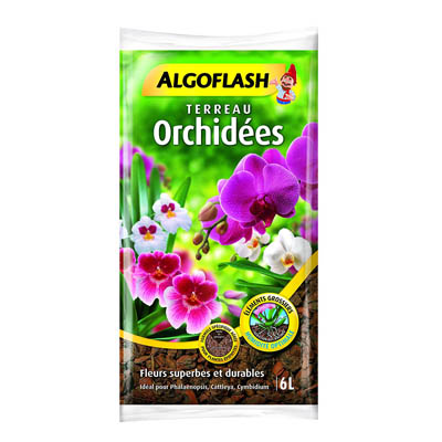 ALGOFLASH Terreau Orchidées, humidité optimale, 6 L, ATORCH6