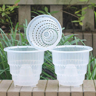 Meshpot Transparent Plastique Pot à orchidée avec Trous - 3 Pièces (2 Pièces 18 cm + 1 Pièces 14 cm)