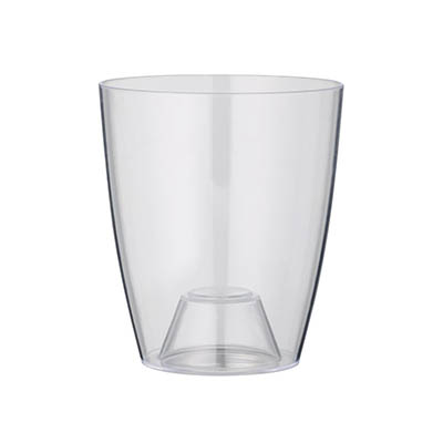 greemotion Pot à orchidée transparent Ornella de 13 cm de diamètre - Pot à fleurs élégant en plastique pour l'intérieur - Petit pot de fleurs zen aux lignes modernes